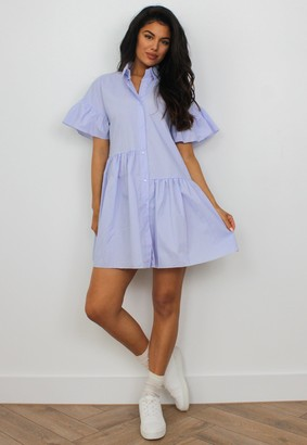 Missguided Lilac Tiered Shirt Smock Dress