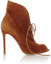 Gianvito Rossi Women's Suede Jane Ankle Booties-BROWN