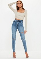 Missguided Blue Vintage Wash Distressed Knee High Waisted Skinny Jeans