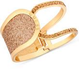 GUESS Gold-Tone Glitter & Stone Hinged Openwork Bangle Bracelet