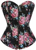 Kranchungel Women's Gothic Vintage Floral Denim Corset Zip up Bustier Top Large
