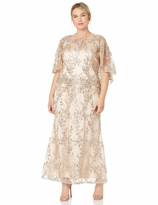 Brianna Women's Plus Size Embellished Sequin Gown with Capelt Top