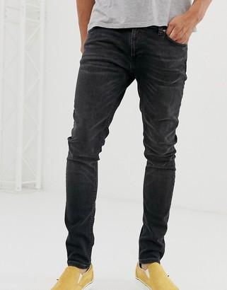Nudie Jeans Skinny Lin skinny fit jeans in worn black wash