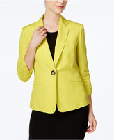 Kasper Single-Button Ruched-Sleeve Blazer