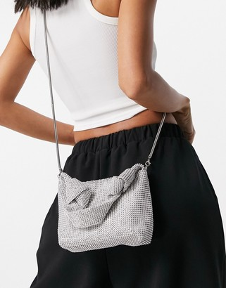 Ego x Molly Mae shoulder bag in silver with all over diamante