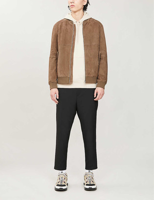 HUGO BOSS Collared suede bomber jacket