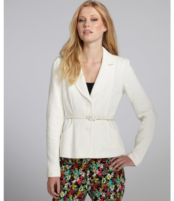 Nanette Lepore cream cotton 'My Song' belted blazer