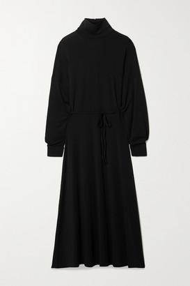 BITE Studios Net Sustain Open-back Belted Stretch-tencel Jersey Turtleneck Midi Dress - Black