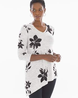 Asymmetrical Hem Tunic Tee Optimisim Floral Marble
