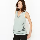 La Redoute Collections Dual Fabric Maternity T-Shirt with Embroidered Detail