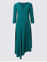 M&S Collection Asymmetrical Hem 3/4 Sleeve Wrap Midi Dress