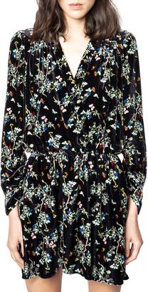 Zadig & Voltaire Reveal Velvet Floral-Print Dress