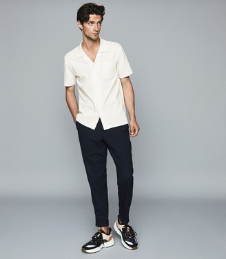 Reiss Reeves - Textured Cuban Collar Shirt in White