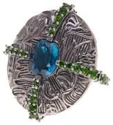 Stephen Dweck London Blue Topaz & Chrome Diopside Stripe Ring - Size 6