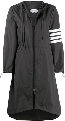 Thom Browne Calf Length Hooded Parka With 4-Bar In Flyweight Tech