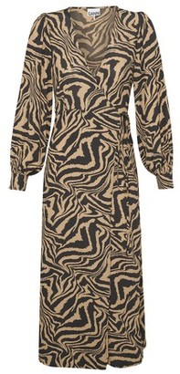 Ganni Printed wrap over dress