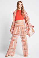 BCBGeneration Patchwork Print Bell-Bottom Pant - Pink