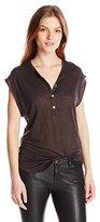 Chaser Women's Linen Jersey Shirttail Henley Cap Sleeve Tee