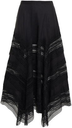 Charo Ruiz Ibiza Benna Crocheted Lace And Cotton-blend Voile Midi Skirt