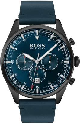BOSS Pioneer Stainless Steel Leather-Strap Chronograph Watch