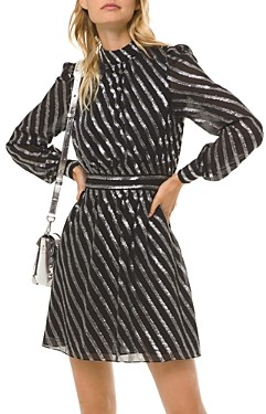 MICHAEL Michael Kors Metallic Stripe Mini Dress