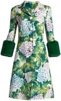 Dolce & Gabbana Hydrangea-brocade fur-trimmed coat