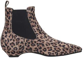 Janet & Janet Low Heels Ankle Boots In Animalier Canvas