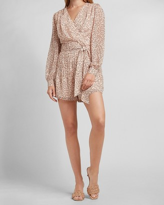 Express Leopard Puff Sleeve Wrap Front Romper