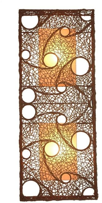 Jeffan Cascade 59 in. Dark Brown Wall Sconce With Natural Rattan Weave