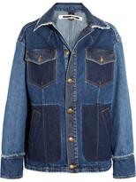 McQ by Alexander McQueen Patchwork Frayed Denim Jacket - Indigo