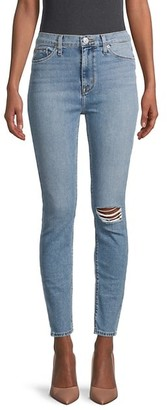 Hudson High-Rise Distressed Skinny Jeans