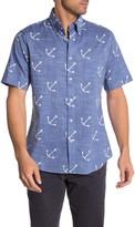 Brooks Brothers Anchor Print Short Sleeve Regent Fit Oxford Shirt
