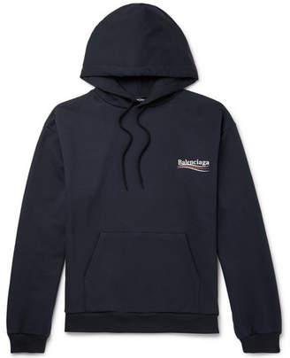 Balenciaga Printed Loopback Cotton-Jersey Hoodie