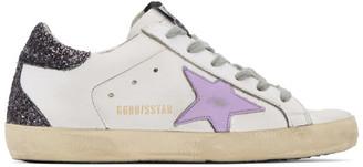 Golden Goose White and Purple Glitter Heel Superstar Sneakers