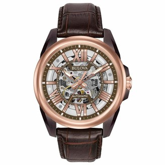 Bulova Men's Mechanical Hand Wind Stainless Steel and Leather Dress Watch