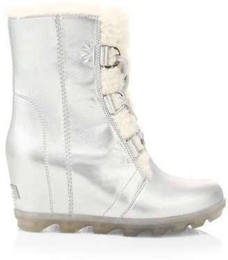 Sorel Disney's Frozen 2 x Joan Of Arctic Wedge II Faux Fur & Shearling-Lined Metallic Leather Wedge Boots