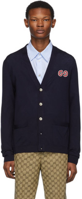 Gucci Navy Thin Knit GG Cardigan