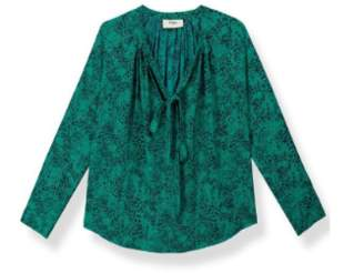 Pyrus - Green Tiny Animal Print Silk Annie Blouse - large | silk | green - Green/Green