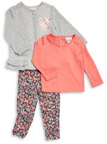 Little Lass Baby Girls Quilted Zip-Up Hoodie, Tee and Leggings Set