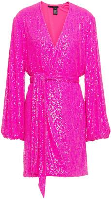 Jay Godfrey Sequined Mesh Mini Wrap Dress