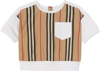 Burberry Kids Icon Stripe Panel Cotton T-Shirt (6-24 Months)