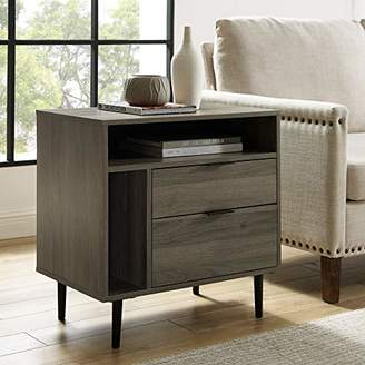 Walker Edison AZR25LINNSSG Modern Wood Nightstand Side Bedroom Storage Drawer and Shelf Bedside End Table