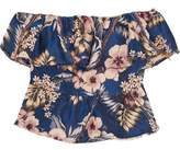 Philosophy di Lorenzo Serafini Off-The-Shoulder Ruffled Floral-Jacquard Top