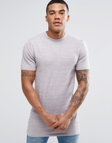 Asos Longline Muscle Fit Knitted T-shirt In Pink Twist