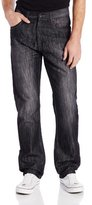 Southpole Men's 6181 Regular Straight-Fit Shiny Streaky Jean in Black Sand