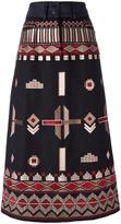 Vilshenko ethnic embroidery mid skirt