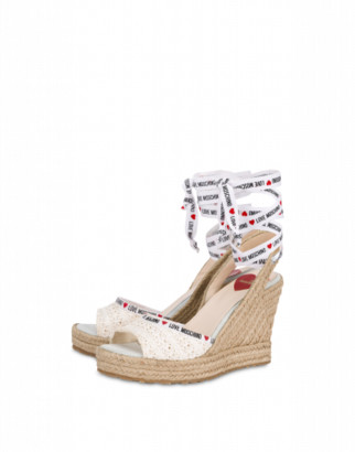 Love Moschino Raffia Sandals With Wedge Woman White Size 37 It - (7 Us)