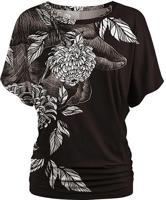 Udear UDEAR Women's Blouses Print - Black & White Floral Ruched Dolman Top - Women & Plus