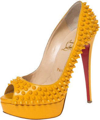 Christian Louboutin Yellow Leather Spikes Lady Peep Platform Pumps Size 38