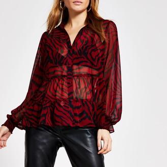 River Island Womens Red animal printed sheer smock shirt